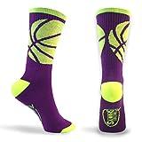 Basketball Sock   Athletic Mid Calf Woven Socks   Basketball Wrap   Purple and Neon Yellow